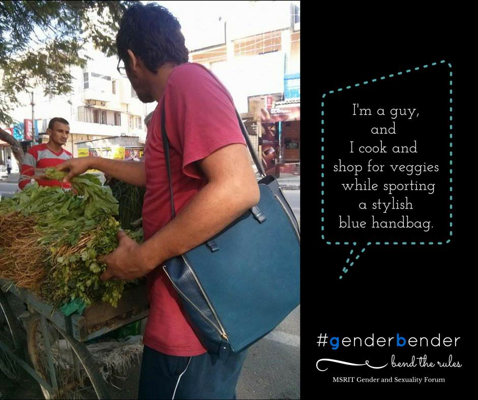 """I'm a guy and I cook and shop for veggies while sporting a stylish blue handbag."" - Sukrut Gejji"