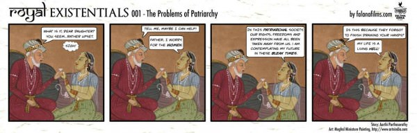 The very first Royal Existentials comic strip! In #001, the king's daughter brings up the problems patriarchy creates.