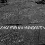 Azadi from Hindutva, this graffiti demands. The movement has asked complicated questions about the relationship of casteism and communalism, and the intertwined nature of the fight that these students have faced. Hindutva, as many of the protesting students have eloquently explained, is not merely 'fascism' or 'right wing' politics, but deeply interrelated with casteism and caste hierarchies.