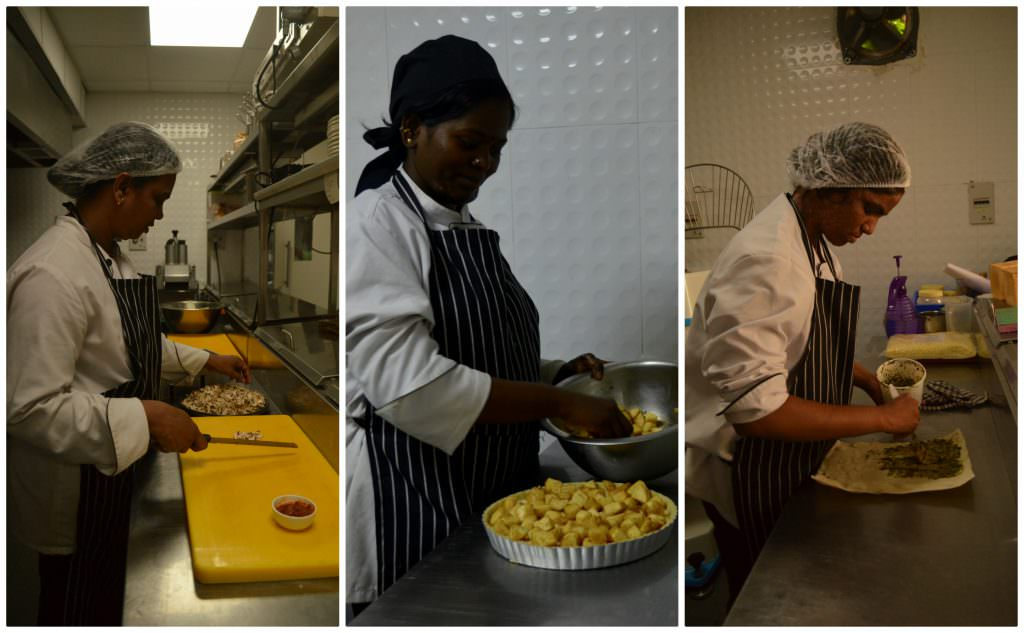 Manjula, Puneetavalli and Maria, from L-R, working at their respective work stations. [Photo Credit: Asmita Ghosh]