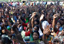 Contract Powrakarmikas protest rally