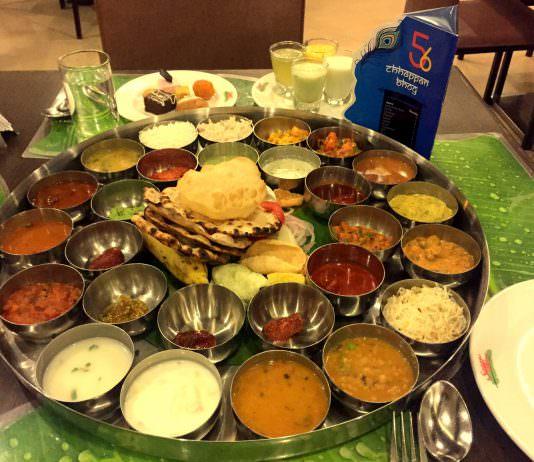 A Bakasura Thali of Indian food