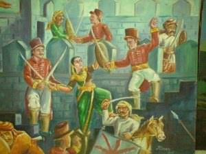 Chennamma engaged in a fight against British forces