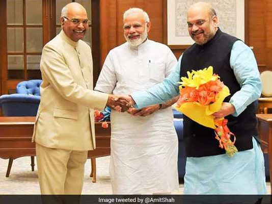 ram nath kovind with amit shah and narendra modi