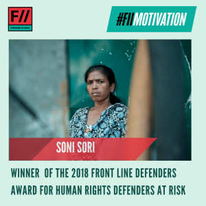 #FIIMotivation: Soni Sori won the 2018 Frontline Defenders Award for her fearless pursuit of justice for the Adivasi community in Bastar, Chattisgarh.