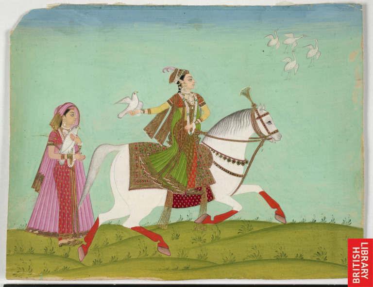 Chand Bibi hawking, an 18th-century painting. Image Source: Wikimedia Commons