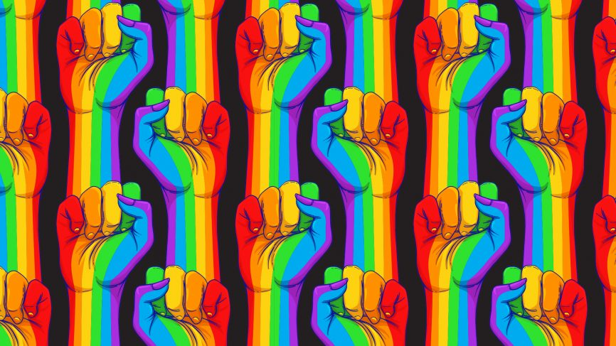 Fists in rainbow colours